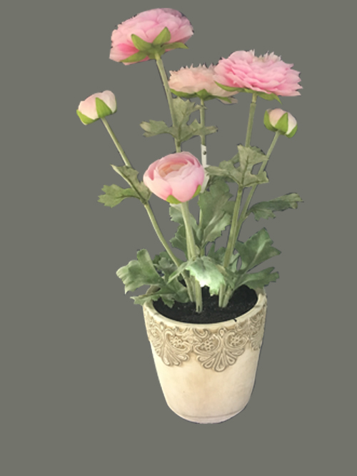 artificial ranunculus flower in pot for home office decors